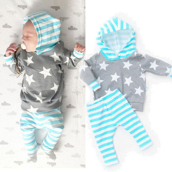 Newborn Baby Girl Boy Clothes Sets Star Hoodie Tops Casual Pants Trousers 2pcs Baby Boys Outfit Set