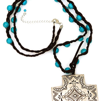 Bohemian Design Silver Cross with Suede Turquoise Bead Long Necklace