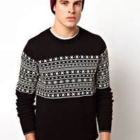 Selected Patterened Crew Neck Jumper at asos.com