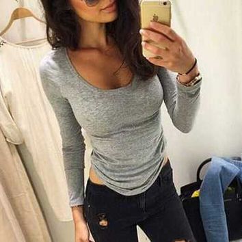SIMPLE - Women Slim Fit Long Sleeve Round Necked Solid T-Shirt a10825