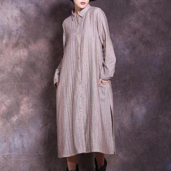 Cotton Linen Shirt Dress Double-Layer Long Sleeve Lapel Collar Solid Color.