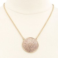 RHINESTONE CIRCLE PENDANT NECKLACE