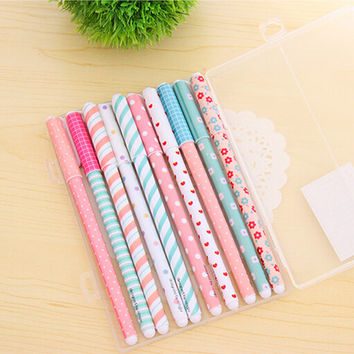 10 PCS pack High Quality 0.38mm Gel Pens Cute Korean School&Office Supplies Hot Sale Stationery Store Lovely Floral Sign Pens