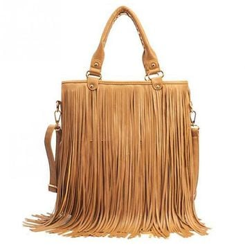 2016 Fashion Womens Vintage Faux Suede Fringe Tassle PU Leather Satchel Shoulder Handbag Crossbody Bag