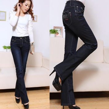 1260 2013 bell-bottom jeans female boot cut blue autumn and winter denim pants long = 1930293956