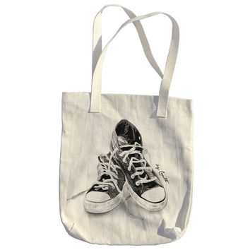 Tote Bag Sneakers American Apparel Bull Denim Woven Cotton Hand Screen Print