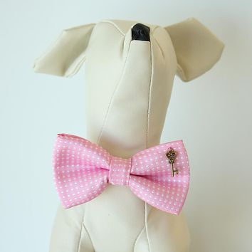 Aurora Pink Polka dots key heart bow, Small bow tie collar, Puppy Collar,Cat collar, Cat bow tie collar