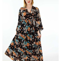 NOS 70s Floral Butterfly Print Angel Sleeve Maxi Dress-Deadstock-S M-1970s Maxi-Boho Chic-Festival Dress
