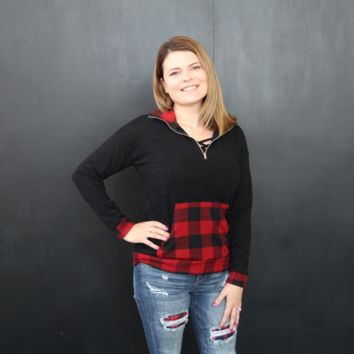 Red and Black Buffalo Plaid Half Zip Pullover
