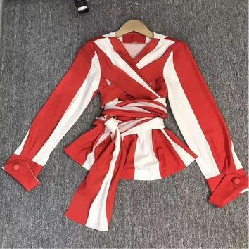Lxunyi Ladies Tops T Shirts Red White Striped Shirt Women V Neck Bandage Tops Long Sleeve Q3002