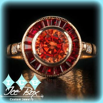 Cultured Padparadscha Sapphire & Ruby Engagement Ring