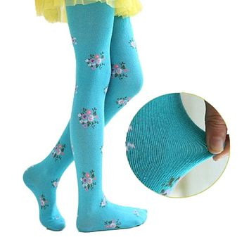 V-TREE Bohemian  baby clothing tights children tights for girls cotton child pantyhose flower kids pantyhose warm stockings