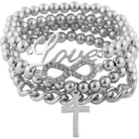 Silvertone with Clear Iced Out Infinity Sign Charm with Script Love Cross & Chain Bundle Stretch Bracelet