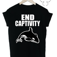 END CAPTIVITY whales dolphins animal rights tshirt