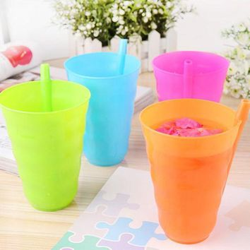 ICIK272 1Pc/4Pcs Creative Toddler Kids Training Cup Plastic Juice Drinking Mug Tumbler with Straw Fpr Easy Drinking Tools 4 Colors