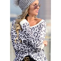 Crew Neck Long Sleeve Leopard Top - Ivory
