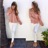 Light Pink Off the Shoulder Pleated Cut Out Blouse