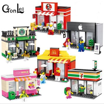 GonLeI Single Sale Mini Street Scene Retail Store Shop Architecture With Building Blocks Sets Model Toys