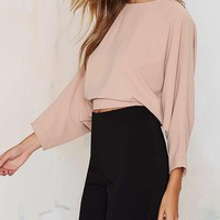 Backless Solid Blouse