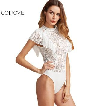 COLROVIE White Elegant Lace Bodysuit Women Ruffle Cap Sleeve Skinny Slim Bodysuits 2017 O Neck Back Zip Up Sexy Summer Bodysuit