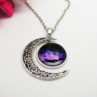 Galaxy Moon Necklace - Purple Necklace - Purple Nebula Necklace - Boho Crystal Necklace - Moon Necklace - Moon Galaxy Necklace - Moon Galaxy
