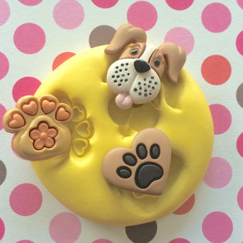 PUPPY Mold DOG Paws Dog FACE Silicone Mold - Decoden Mold, Cupcake Topper, Cake Pops, Cake decoration, Clay, Resin, Charms Mold, Jewel