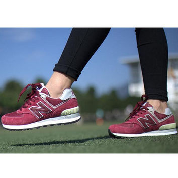 """New balance"" Leisure shoes running shoes men's shoes for women's shoes couples N word Wine red"