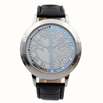 Blue Light Display Touch Screen LED Watches Leather Band Quartz Wristwatch Tree Shaped White Dial Womens Mens Relogio Masculino