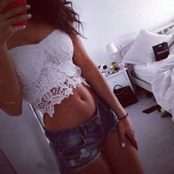 Sexy Lace Hollow Vest Tank Top Camisole