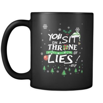 You Sit On A Throne Of Lies Buddy The Elf Funny Ugly Christmas Sweater Black 11oz Coffee Mug