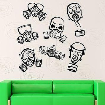 Wall Decal Gas Mask Danger Decor Vinyl Stickers Art Mural Unique Gift (ig2593)