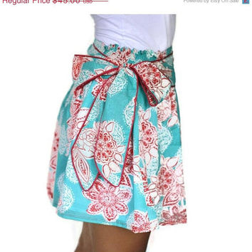 Fashion Mini Skirt Aquamarine and Red