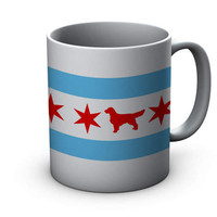 Chicago Flag Golden Retriever Ceramic Mug  - Chicago Coffee Mug - Golden Retriever Mug - Golden Retriever Mug - Coffee Cup - dog Lover gift