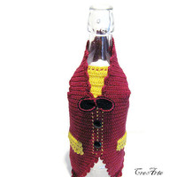 Crochet Gilet for wine bottle, Cover bottle, Bottle decorations, Red wine cozy, Decorazione Gilet bottiglia (Cod. 13)