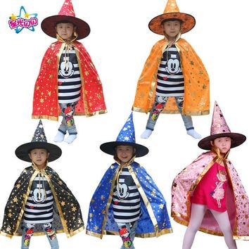 Cool Boy Girl Witch Wizard Cloak Cosplay Costumeswith Hat For Children Halloween Christmas Costumes Cap Stars New Year Fancy dress upAT_93_12