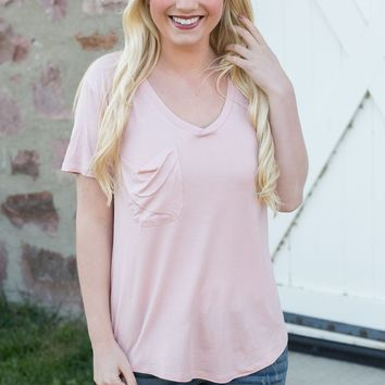 The Shimmer Pocket Tee - Silver Pink