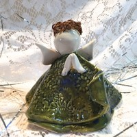 Porcelain Christmas Angel,porcelain figurine,Green Blue,ceramics and pottery,handmade