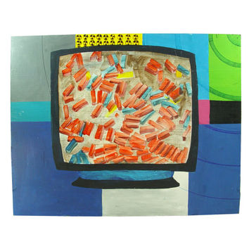 Unique Atomic Pop Art - Television Nuke Wasteland Painting - 3 of 4