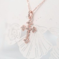 Magic Pieces Sterling Silver Cross Shape Pendant with CZ Full Pave Color Rose Golden