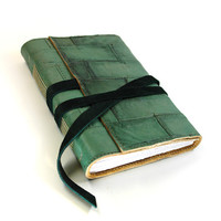 Mint Leather Journal, Green Stitched Notebook, Diary, Sketchbook, Sketch Book