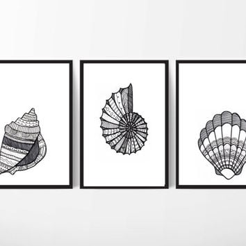 Coastal Art, Beach Art, Seashell Art, Coastal Art Set Zentangle