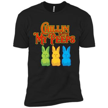 Chilling With My Peeps T-shirt Cool Easter Bunny Rabbit Tee Next Level Premium Short Sleeve Tee