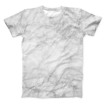 The White Scratched Marble ink-Fuzed Unisex All Over Full-Printed Fitted Tee Shirt