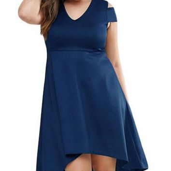 Chicloth Navy Blue Plus Exposed Shoulder Skater Dress