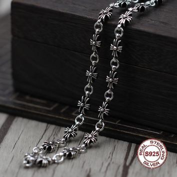 Sterling Silver Necklace Personality simple wild paragraph cross necklace Classic couple style