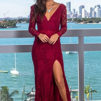 Burgundy Lace Maxi Dress with Strappy Back
