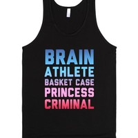 Brain, Athlete, Basket Case, Princess, Criminal (Dark)-Black Tank