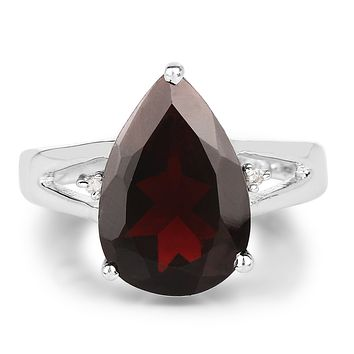 5.61CT Pear Cut Natural Red Garnet & Diamond Engagement Ring