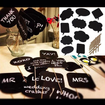 10PCS DIY Write Chalkboard Sign Speech Bubbles Photo Booth Props Wedding Parties = 1933026052