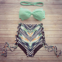 Mint Bow High Waist Floral Bikini Bow Top Swimsuits Bikini Set